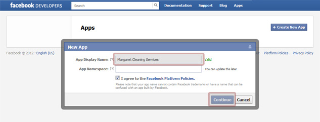 Create New App on Facebook
