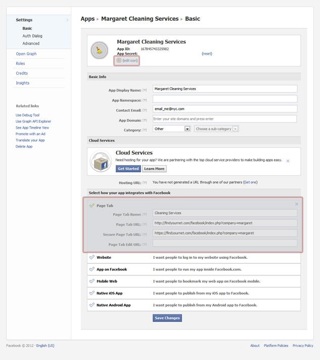 Edit Your Facebook App